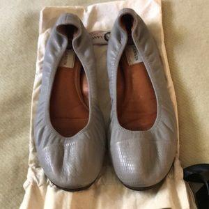Lanvin gray leather ballet flats